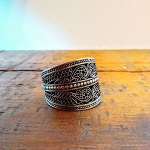 Adjustable Boho Silver Ring with Inlay Scrolls